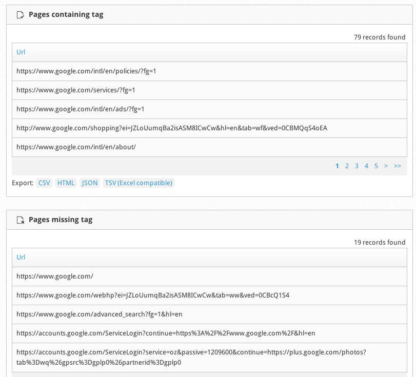 Tag Inspector Pages Missing Report