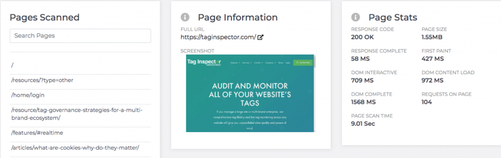 Pages Reporting in Tag Inspector
